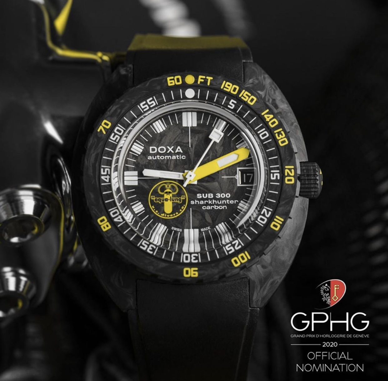 """GPHG 2020: THE DOXA SUB 300 CARBON AQUA LUNG US DIVERS IS OFFICIALLY NOMINATED IN THE """"DIVER'S"""" CATEGORY"""